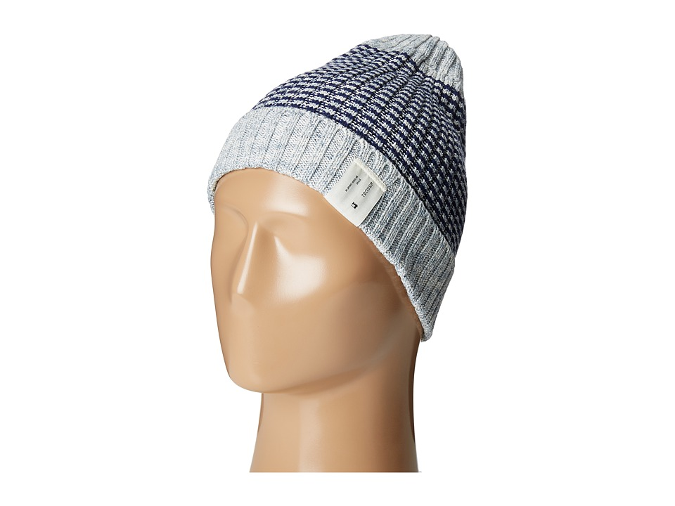 Scotch & Soda - Rib Knitted Beanie (18 Grey Navy) Beanies