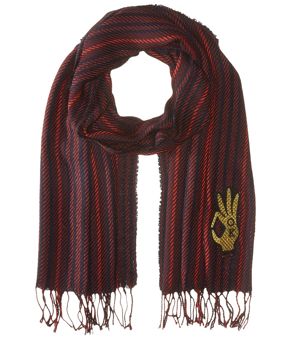 Scotch & Soda - College Scarf with Badge (18 Navy Red) Scarves