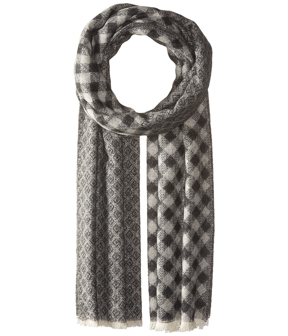 Scotch & Soda - Gentleman's Scarf in Soft Wool Blend Quality with Blanket Inspired Pattern (17 Grey/Charcoal) Scarves