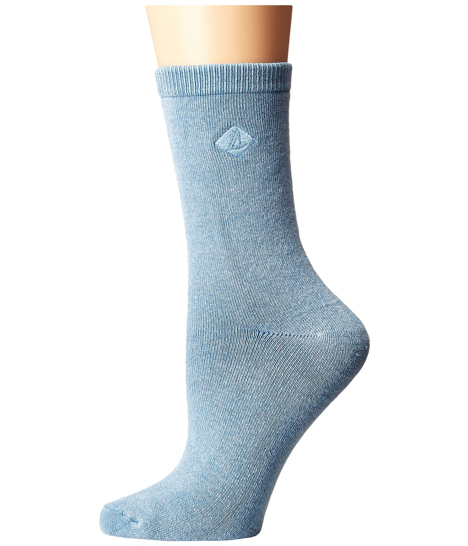 Sperry - Solid Salt Wash Full Cushion Crew (Blue) Women's Crew Cut Socks Shoes