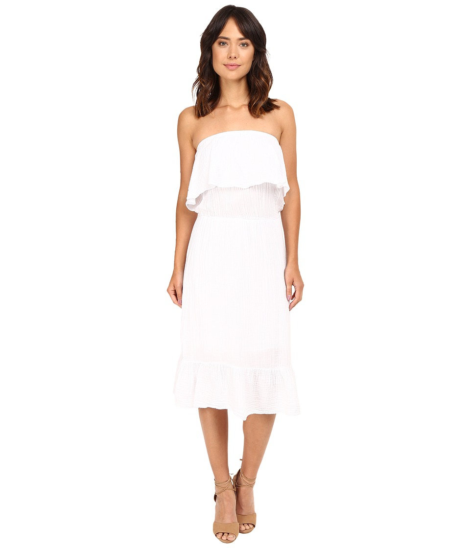 Michael Stars Double Gauze Strapless Dress (White) Women