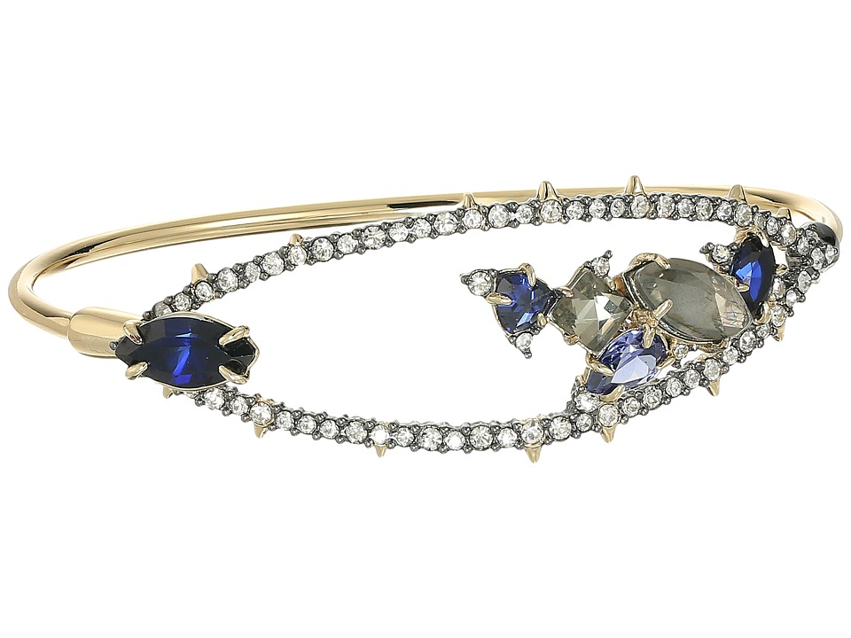 Alexis Bittar - Crystal Encrusted Spike Accented Gemstone Cluster Tension Bangle Bracelet (10K Gold/Ruthenium) Bracelet