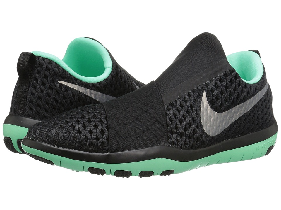 Nike - Free Connect (Black/Metallic Silver/Green Glow) Women's Slip on Shoes