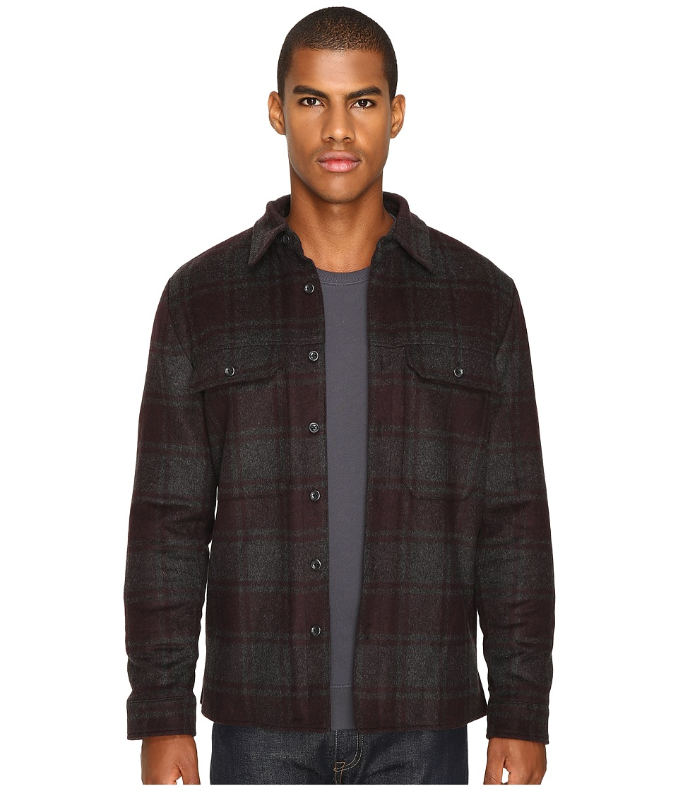 Vince - Plaid Military Jacket (Heather Charcoal/Oxblood) Men's Coat