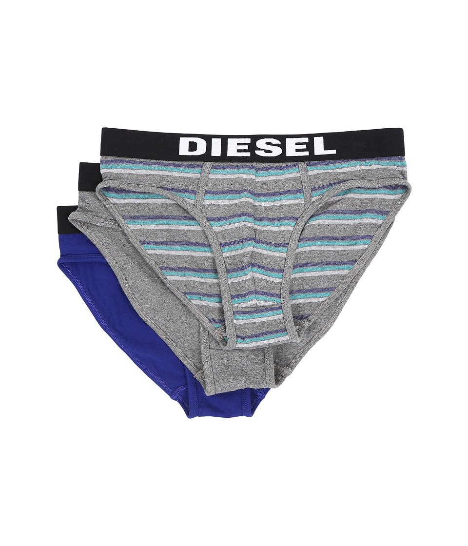 Diesel - Andre 3-Pack Underpants AAMR (Grey Stripe/Grey Solid/Blue Solid) Men's Underwear
