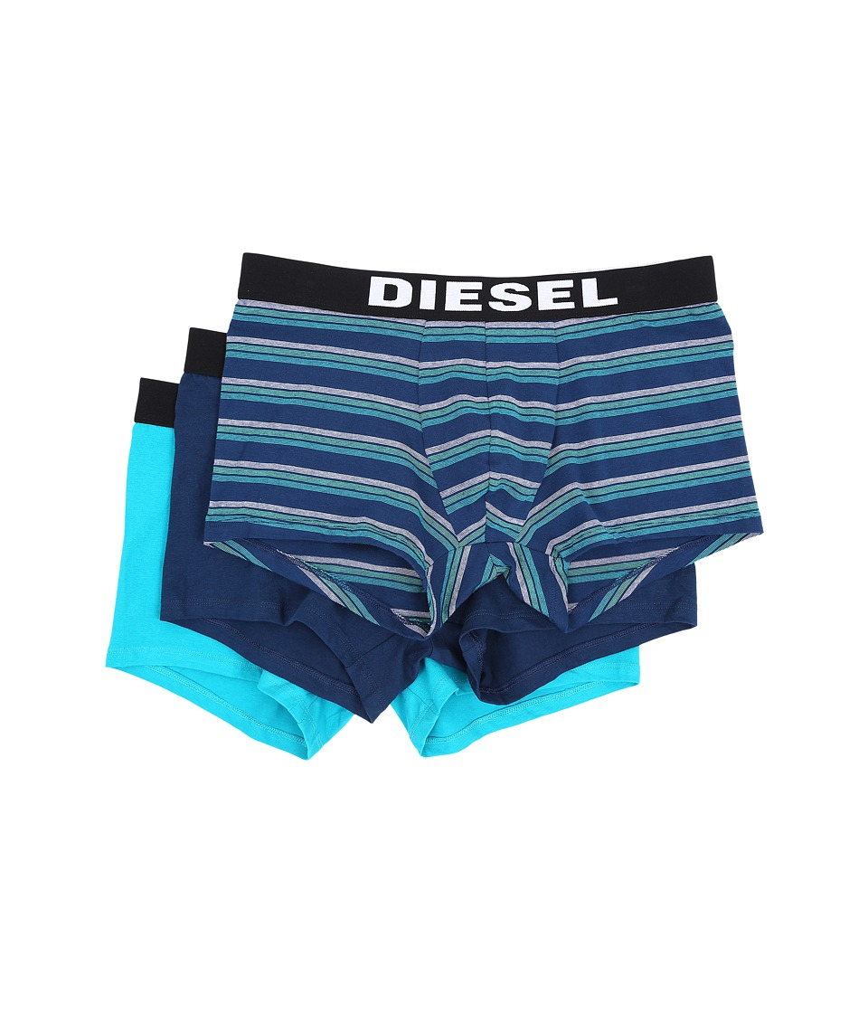 Diesel - Shawn 3-Pack Boxer Shorts AAMR (Blue Stripe/Royal Blue Solid/Aqua Blue Solid) Men's Underwear