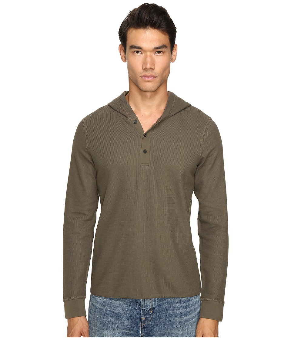 Vince - Long Sleeve Hooded Henley (Fatigue Green) Men's Sweatshirt