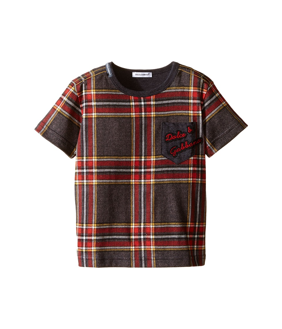 Dolce & Gabbana Kids - Back to School Tartan T-Shirt (Toddler/Little Kids) (Grey Print) Boy's T Shirt