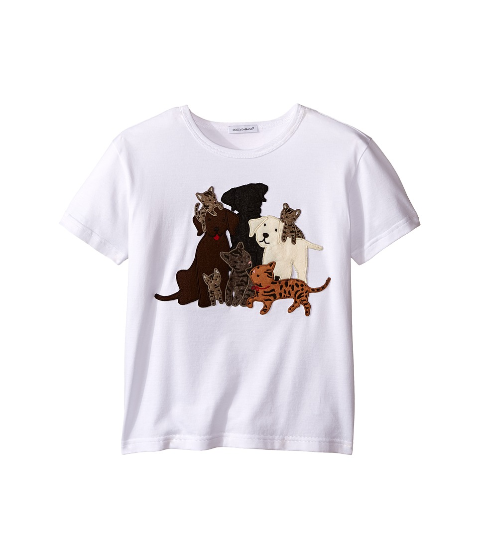 Dolce & Gabbana Kids - Patch Canine Family T-Shirt (Toddler/Little Kids) (White Print) Boy's T Shirt