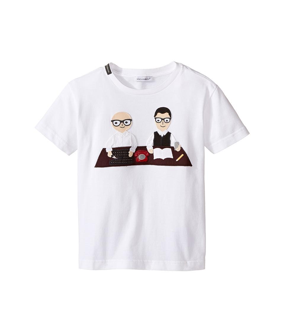 Dolce & Gabbana Kids - Patch Designers T-Shirt (Toddler/Little Kids) (White Print) Boy's T Shirt
