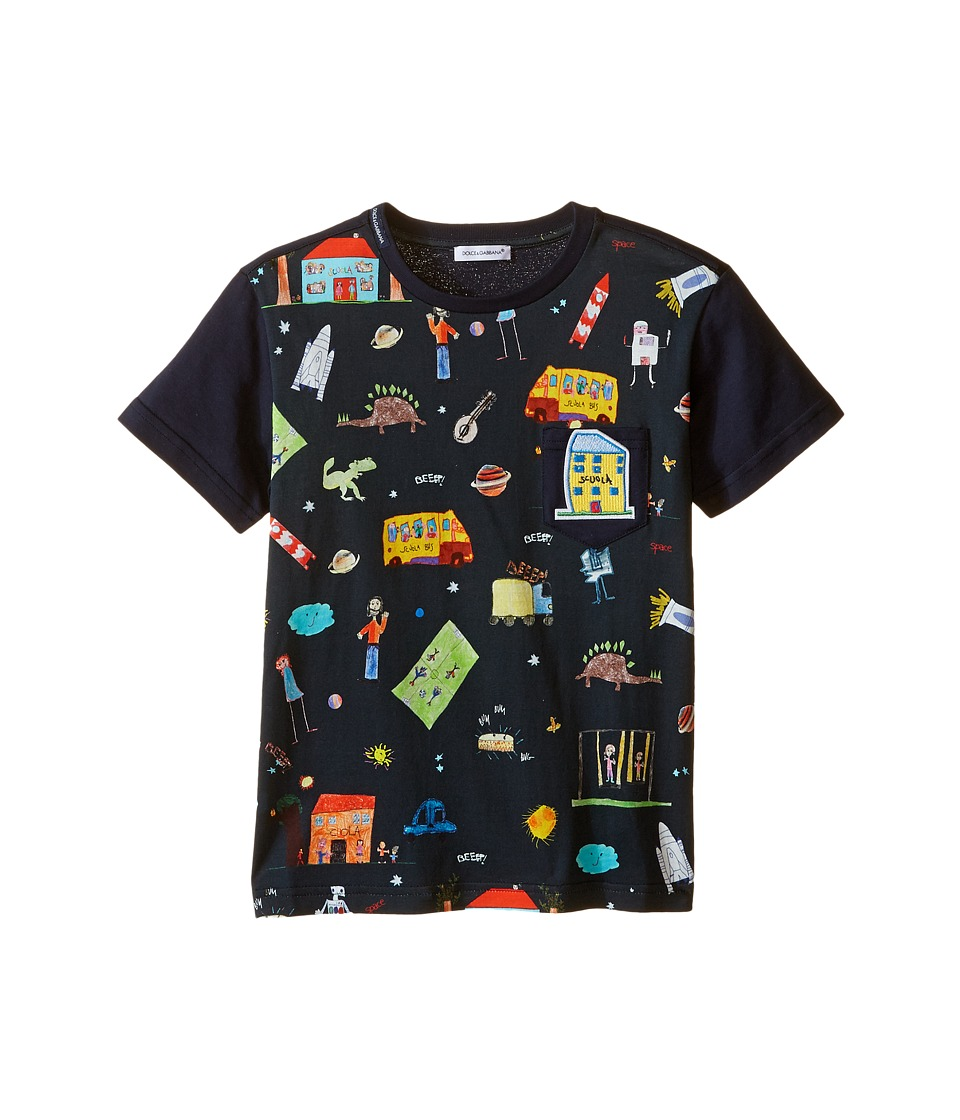 Dolce & Gabbana Kids - Back to School Printed T-Shirt (Toddler/Little Kids) (Navy Print) Boy's T Shirt
