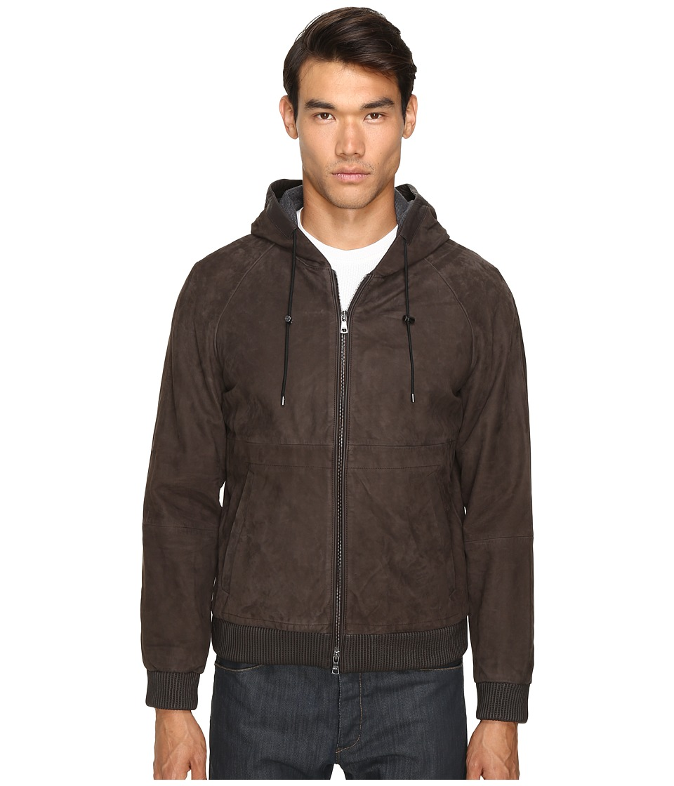 Vince - Leather Zip-Up Hoodie (Espresso Brown) Men's Sweatshirt