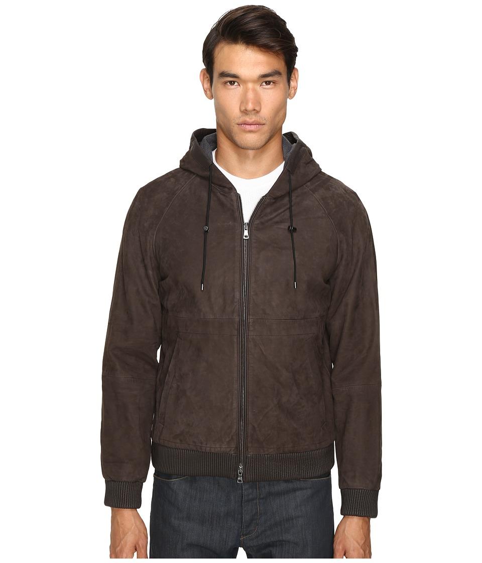 Vince - Leather Zip-Up Hoodie (Espresso Brown) Men's Sweatshirt