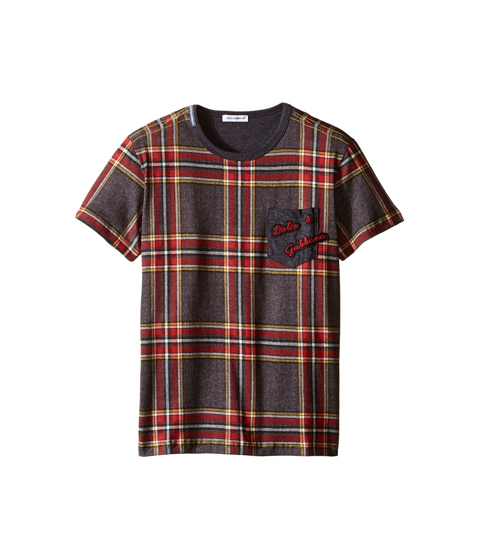 Dolce & Gabbana Kids - Back to School Tartan T-Shirt (Big Kids) (Grey Print) Boy's T Shirt