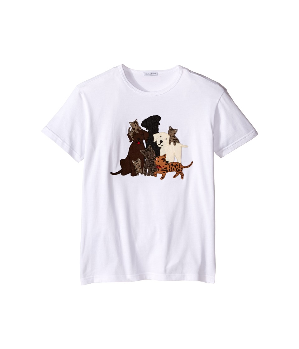Dolce & Gabbana Kids - Patch Canine Family T-Shirt (Big Kids) (White Print) Boy's T Shirt