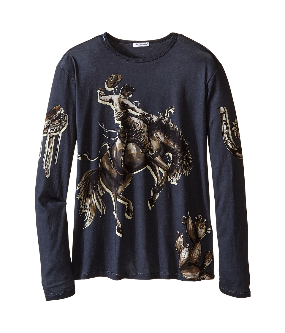 Dolce & Gabbana Kids - City Rodeo Cavallo T-Shirt (Big Kids) (Navy Print) Boy's T Shirt