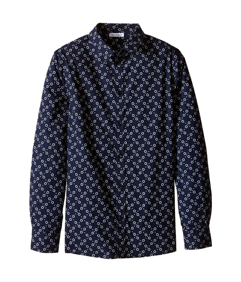 Dolce & Gabbana Kids - City Fiorellini Print Shirt (Big Kids) (Navy Print) Boy's Clothing
