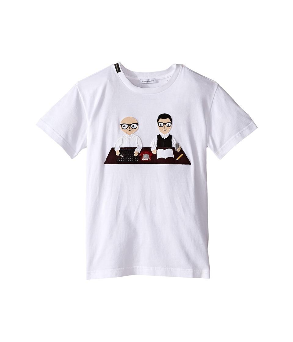 Dolce & Gabbana Kids - Patch Designers T-Shirt (Big Kids) (White Print) Boy's T Shirt