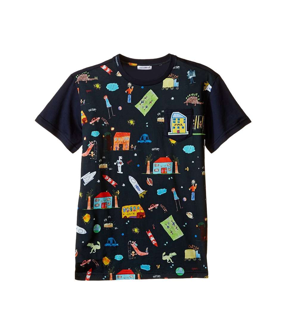 Dolce & Gabbana Kids - Back to School Printed T-Shirt (Big Kids) (Navy Print) Boy's T Shirt