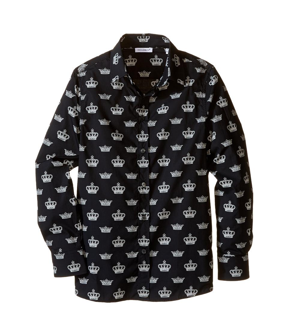 Dolce & Gabbana Kids - City Crown Print Shirt (Big Kids) (Black Print) Boy's Clothing