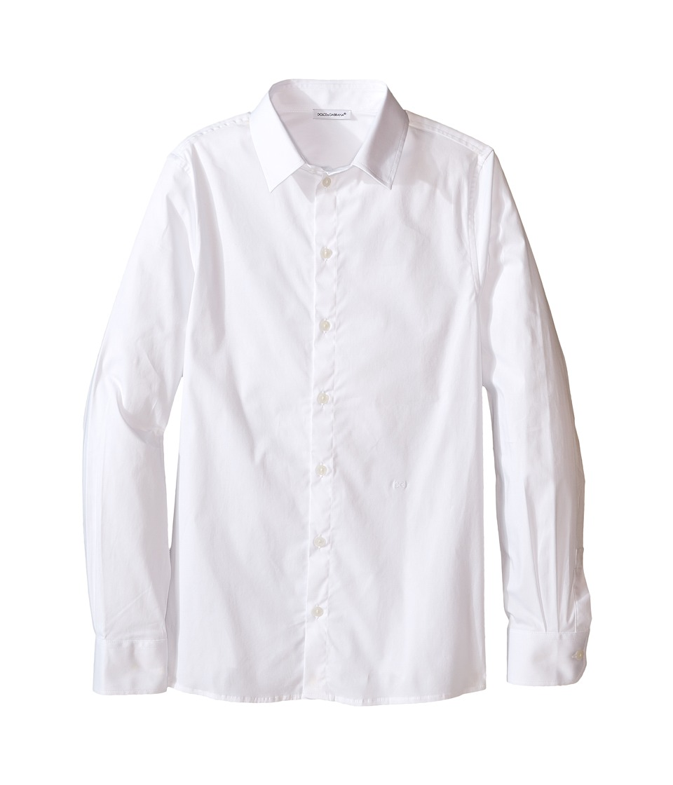 Dolce & Gabbana Kids - Back to School Poplin Stretch Shirt (Big Kids) (White) Boy's Clothing