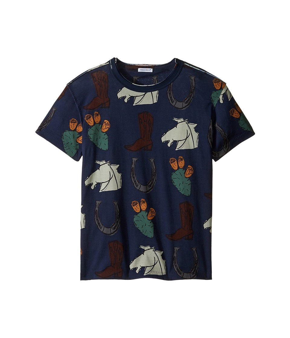 Dolce & Gabbana Kids - City Western T-Shirt (Big Kids) (Navy Print) Boy's T Shirt