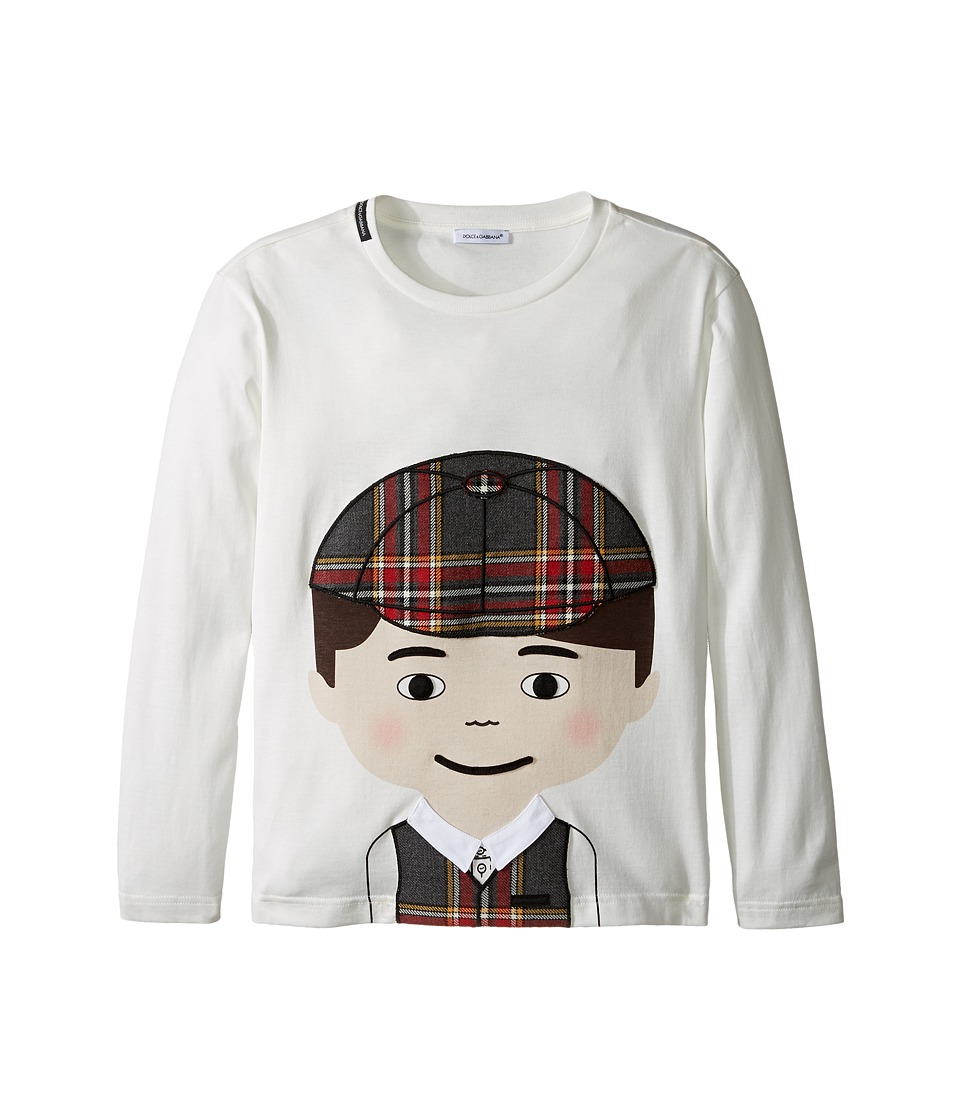 Dolce & Gabbana Kids - Back to School Bimbo Moro T-Shirt (Big Kids) (White Print) Boy's T Shirt