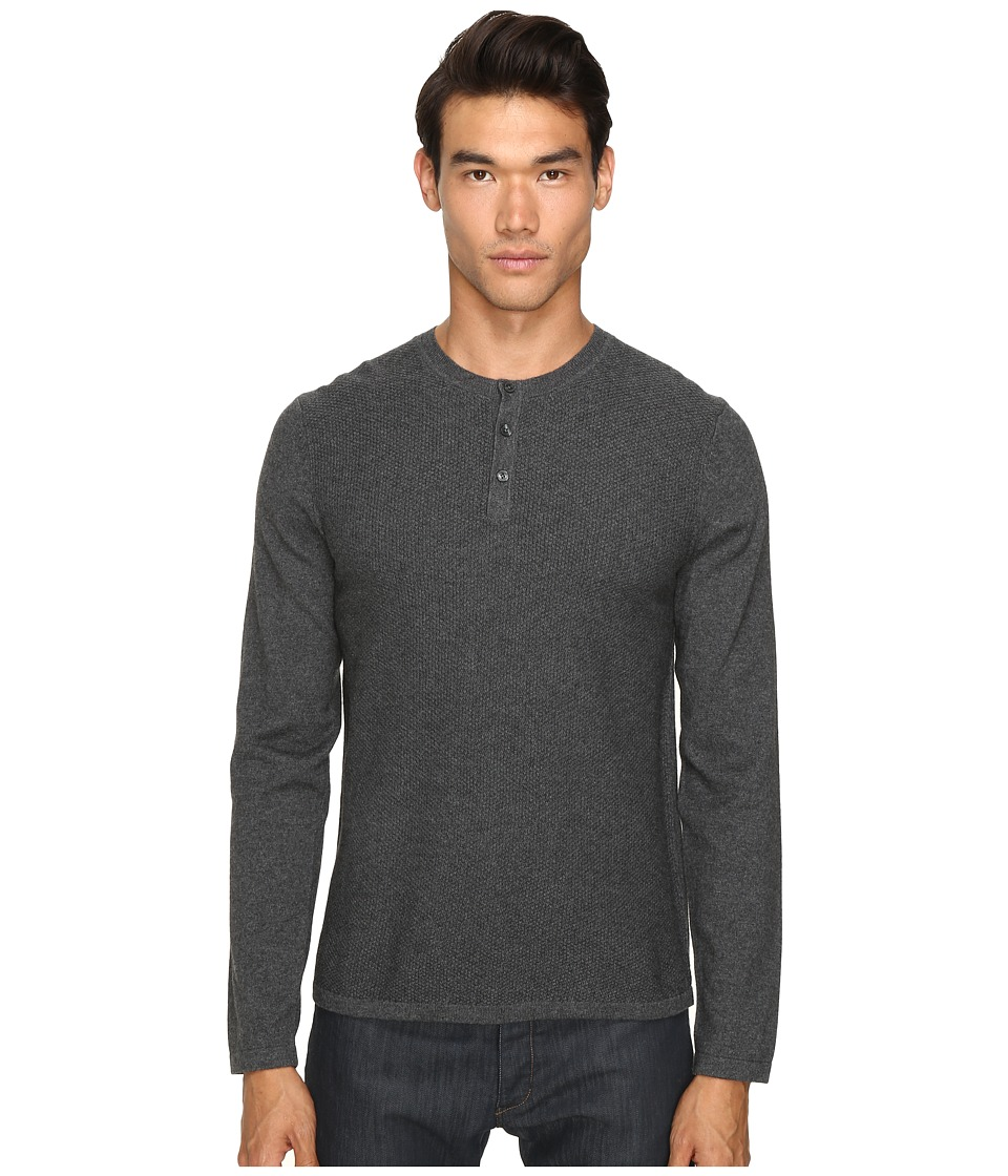 Vince - Jersey Mix-Stitch Long Sleeve Henley (Heather Carbon) Men's Sweater