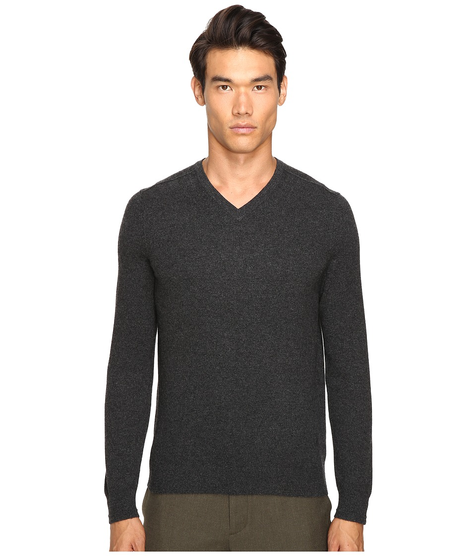 Vince - Cashmere Long Sleeve Crew Neck Sweater (Heather Shadow) Men's Sweater