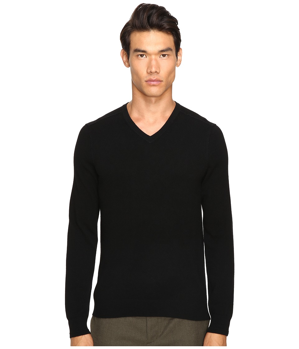 Vince - Cashmere Long Sleeve Crew Neck Sweater (Black) Men's Sweater