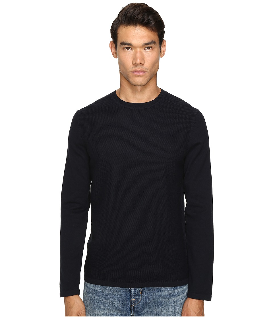 Vince - Jersey Mix-Stitch Long Sleeve Crew (Coastal Blue) Men's Sweater
