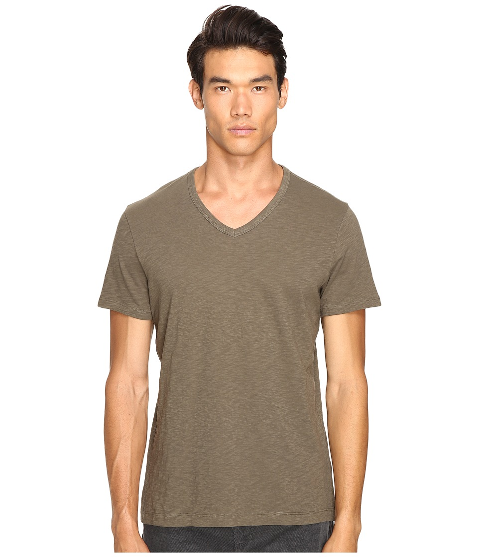 Vince - Slub Cotton Short Sleeve Relaxed V-Neck (Fatigue Green) Men's T Shirt