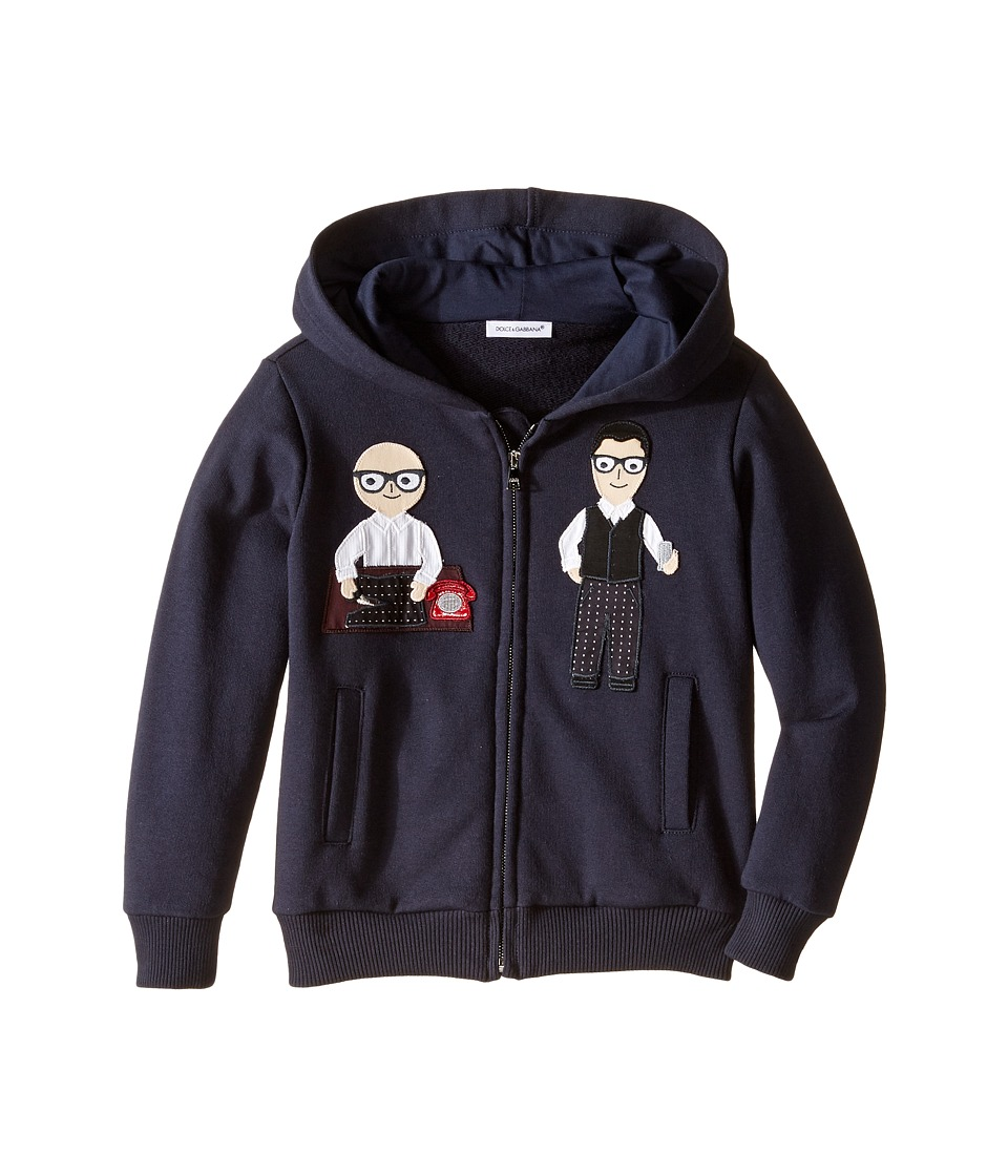 Dolce & Gabbana Kids - Patch Designers Hoodie (Toddler/Little Kids) (Dark Blue Print) Boy's Sweatshirt
