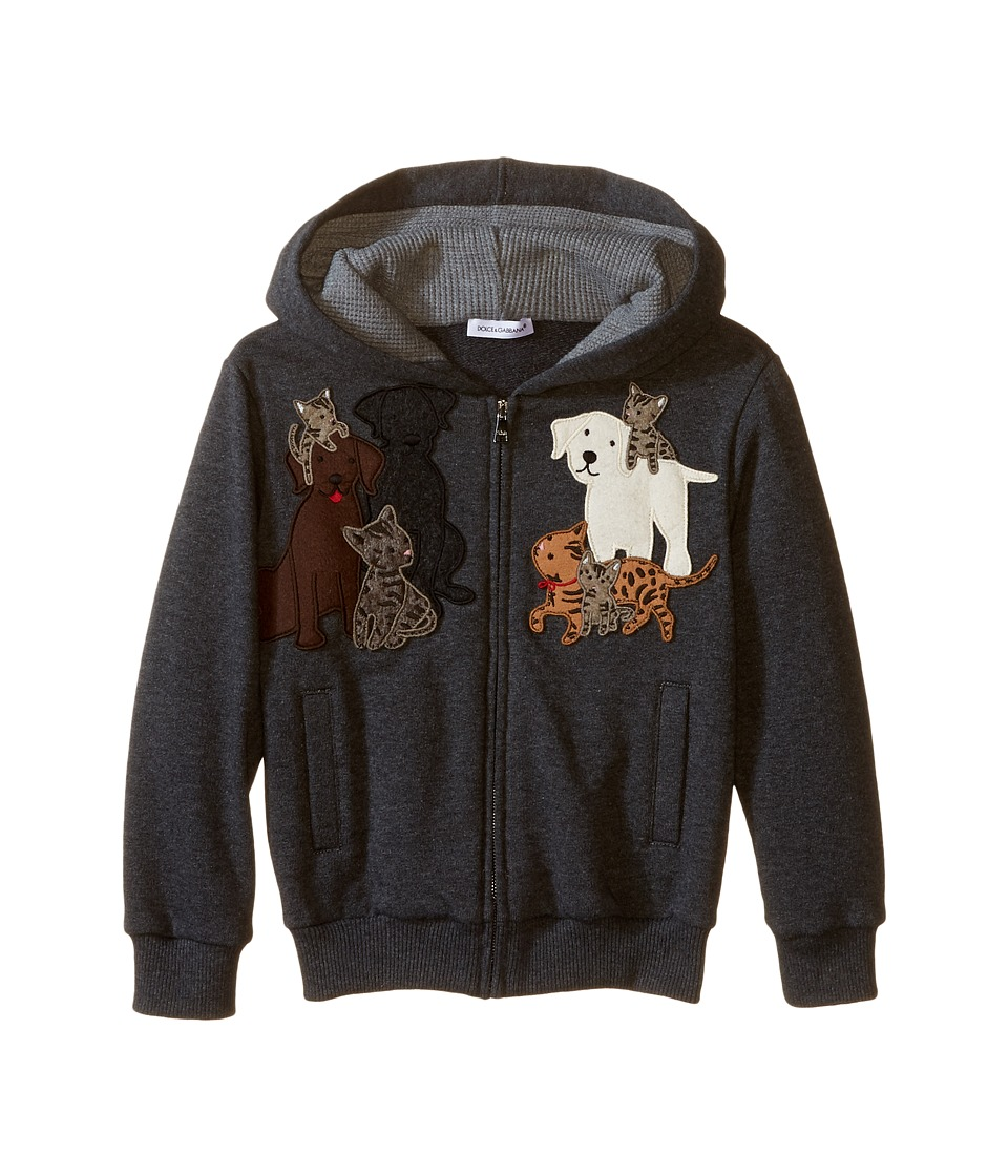 Dolce & Gabbana Kids - Patch Canine Family Hoodie (Toddler/Little Kids) (Medium Grey) Boy's Sweatshirt