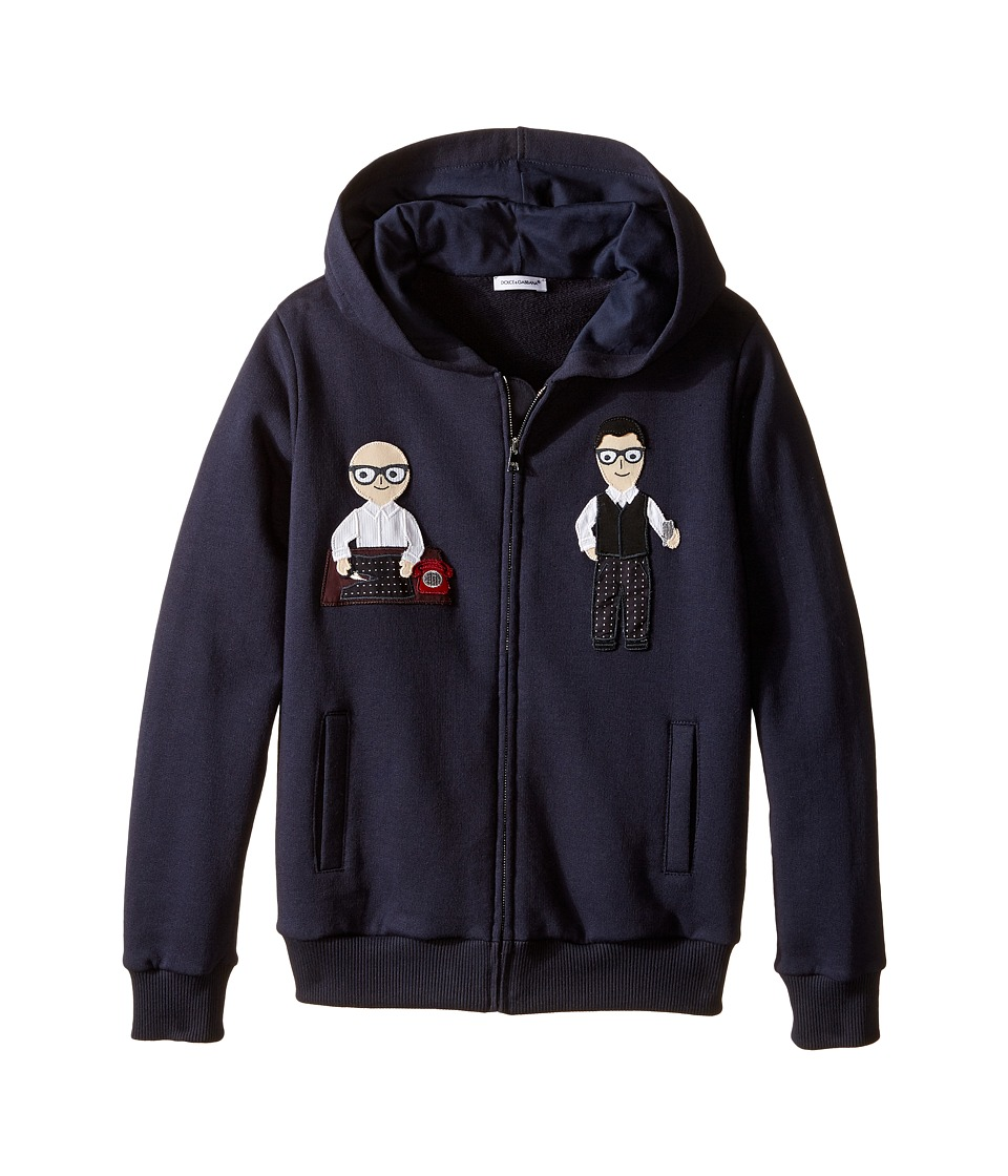 Dolce & Gabbana Kids - Patch Designers Hoodie (Big Kids) (Dark Blue Print) Boy's Sweatshirt