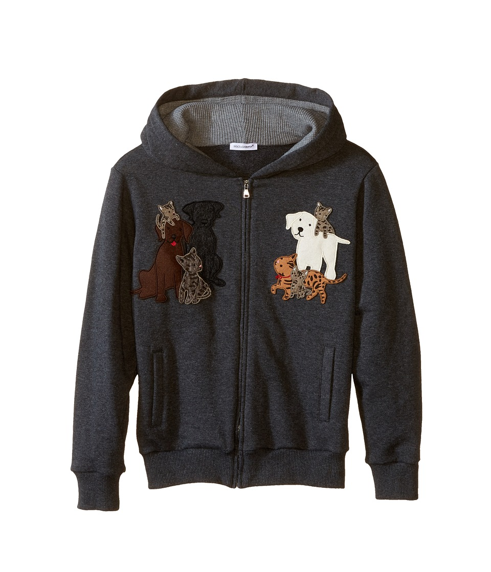 Dolce & Gabbana Kids - Patch Canine Family Hoodie (Big Kids) (Medium Grey) Boy's Sweatshirt