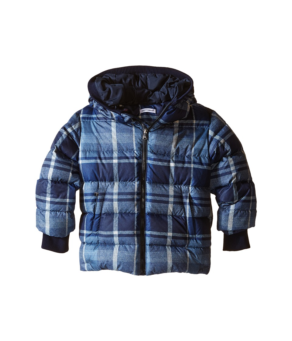 Dolce & Gabbana Kids - Back to School Nylon Check Coat (Toddler/Little Kids) (Blue Print) Boy's Coat