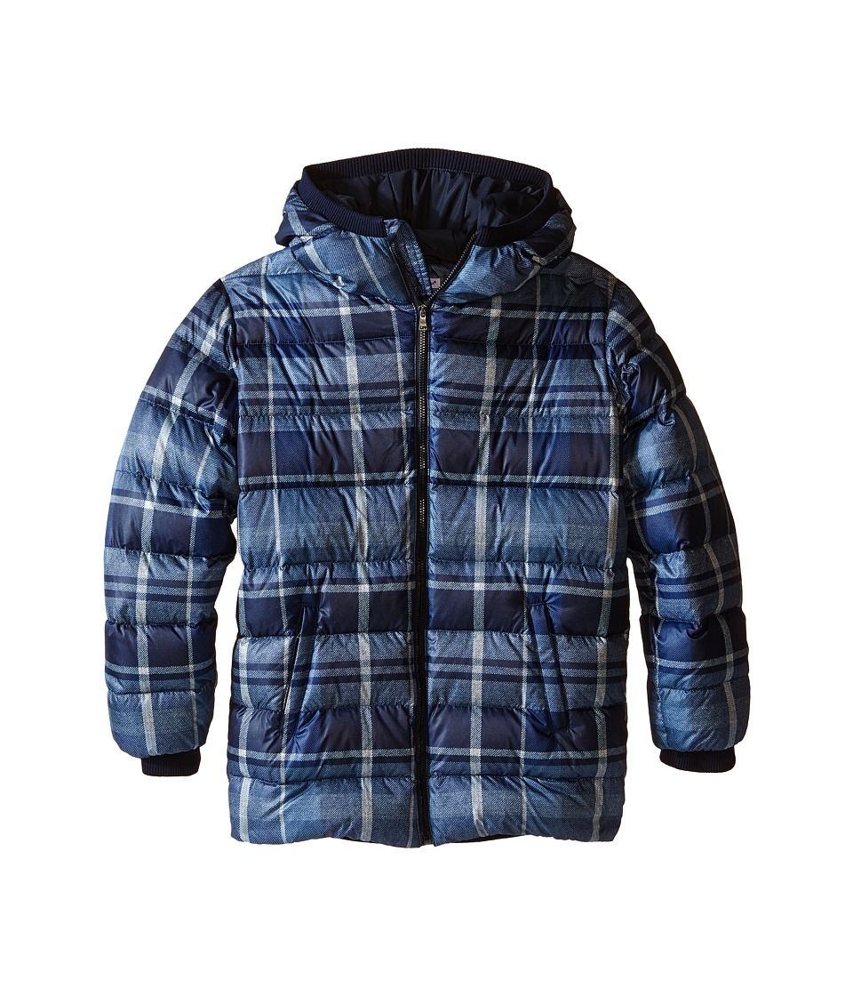 Dolce & Gabbana Kids - Back to School Nylon Check Coat (Big Kids) (Blue Print) Boy's Coat