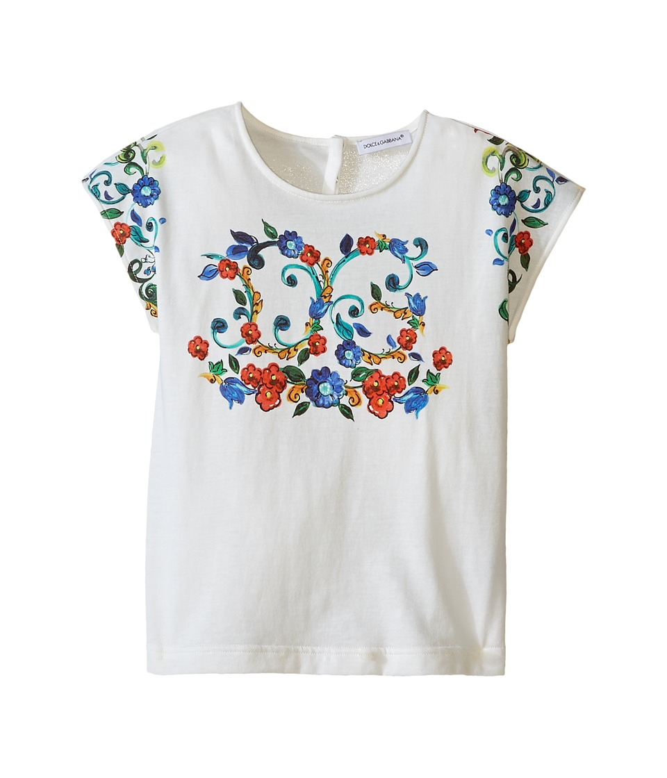 Dolce & Gabbana Kids - Escape Logo T-Shirt (Toddler/Little Kids) (White Print) Girl's T Shirt