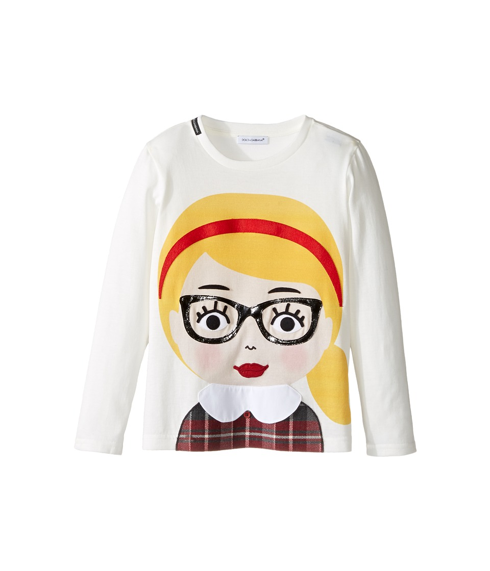 Dolce & Gabbana Kids - Back to School Bimba Bionda Long Sleeve T-Shirt (Toddler/Little Kids) (White Print) Girl's T Shirt