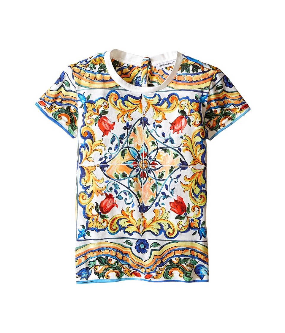 Dolce & Gabbana Kids - Escape Maiolica T-Shirt (Toddler/Little Kids) (White Print) Girl's T Shirt
