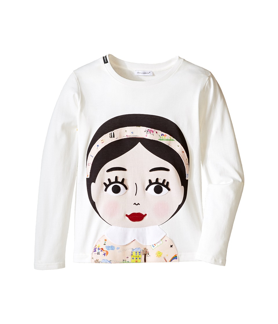 Dolce & Gabbana Kids - Back to School Bimba Mora T-Shirt (Toddler/Little Kids) (White Print) Girl's T Shirt
