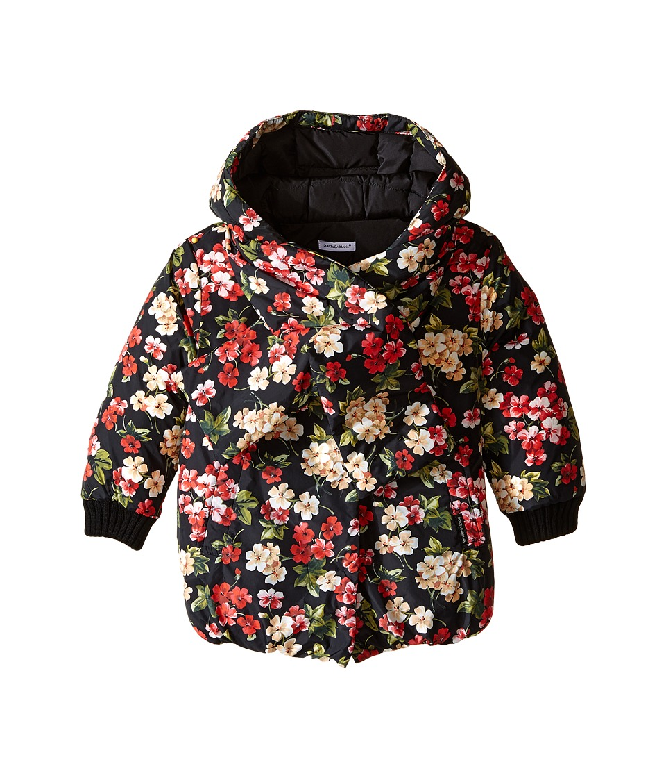 Dolce & Gabbana Kids - Back to School Floral Nylon Coat (Toddler/Little Kids) (Black Print) Girl's Coat