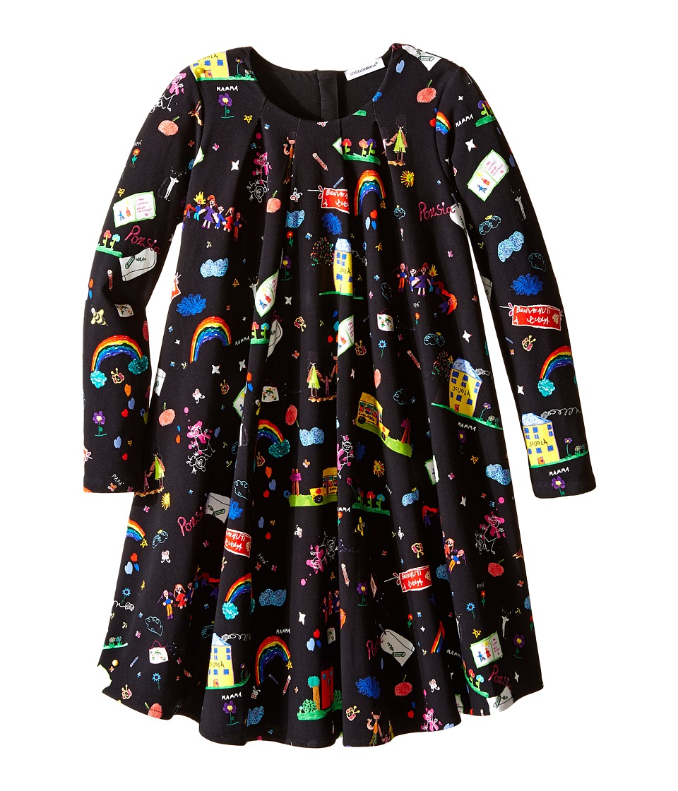 Dolce & Gabbana Kids - Back to School Printed Long Sleeve Dress (Toddler/Little Kids) (Black Print) Girl's Dress