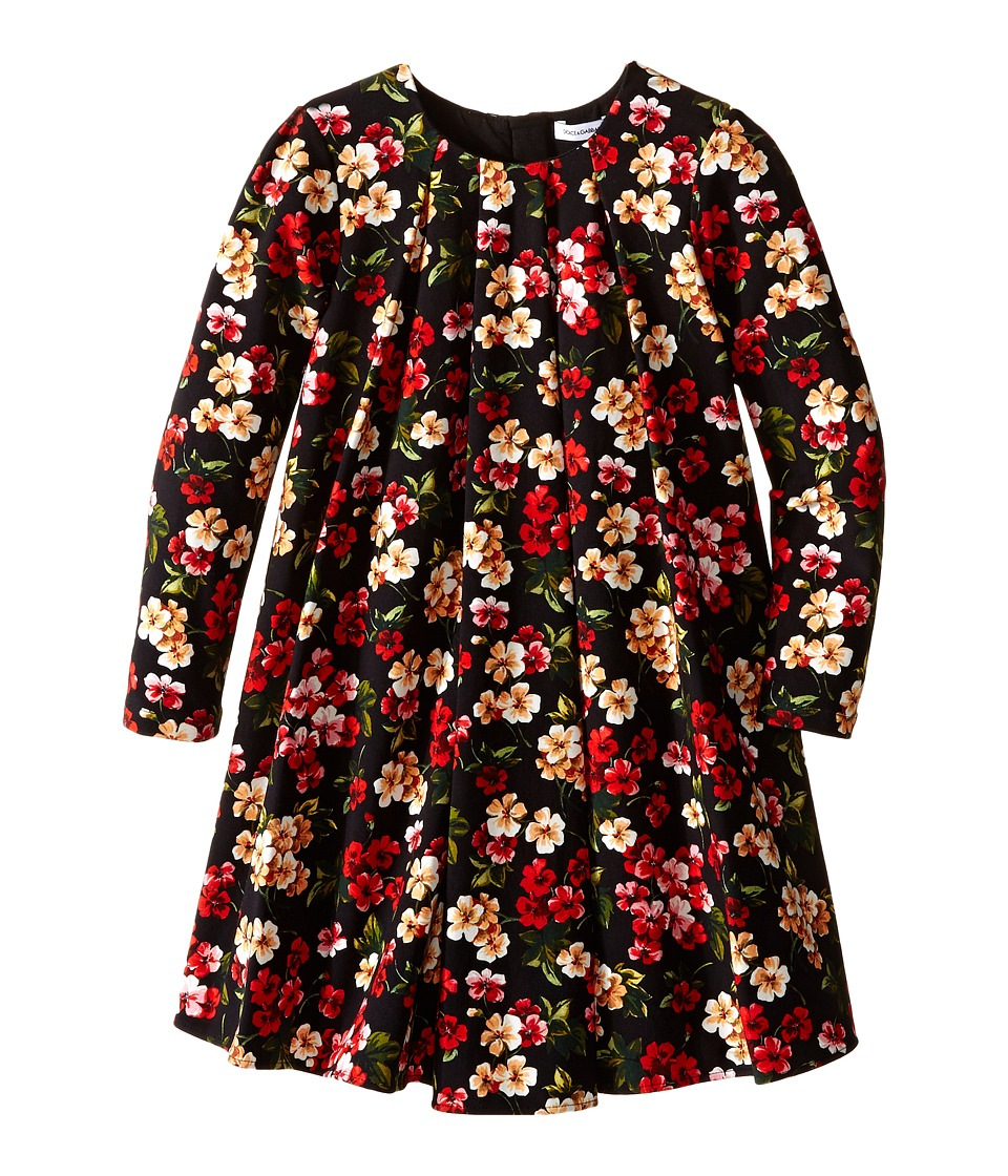 Dolce & Gabbana Kids - Back to School Floral Long Sleeve Dress (Toddler/Little Kids) (Black Print) Girl's Dress