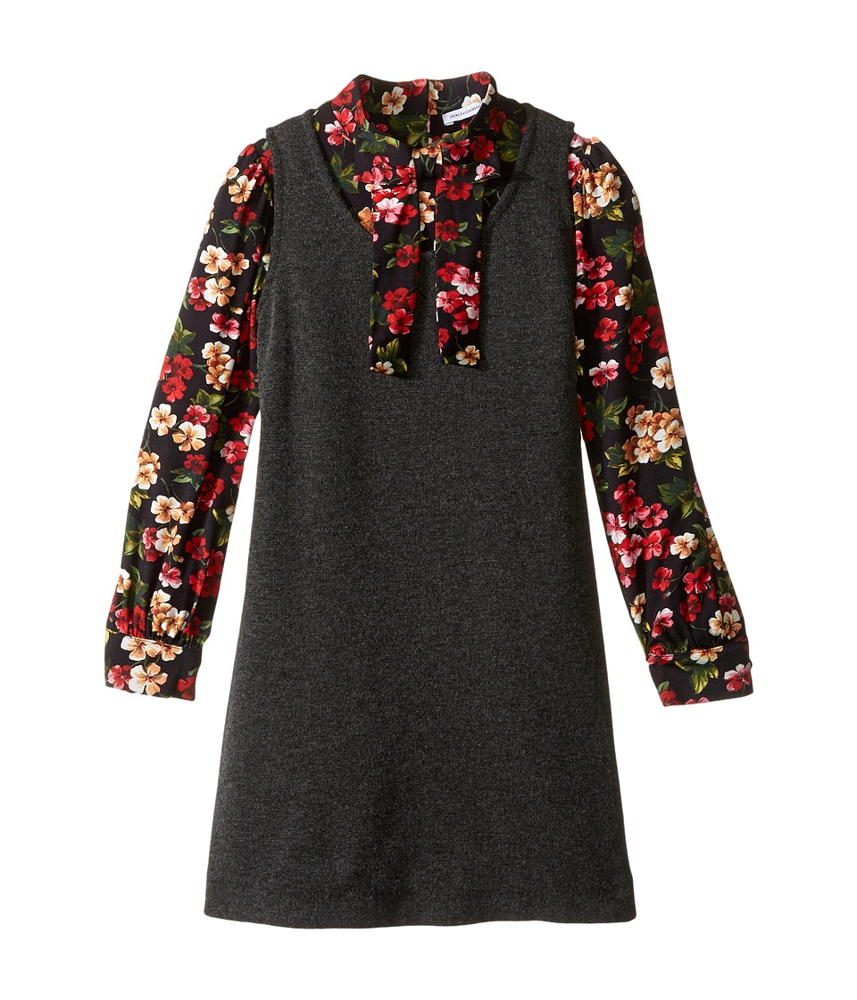 Dolce & Gabbana Kids - Back to School Long Sleeve A-Line Dress (Toddler/Little Kids) (Charcoal Print) Girl's Dress