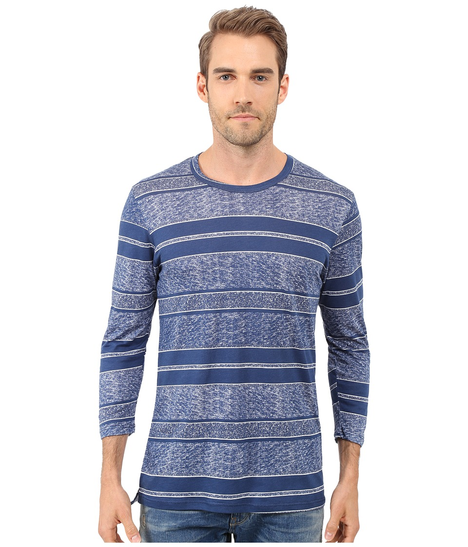 Alternative - Cotton Modal 3/4 Sleeve (Dark Blue Block Stripe) Men's Clothing
