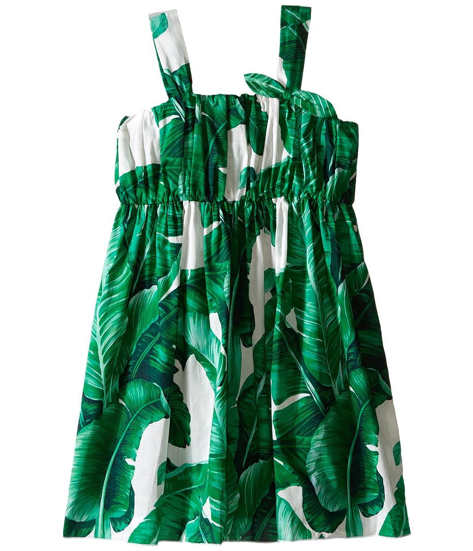 Dolce & Gabbana Kids - Botanical Garden Banana Print Flared Dress (Toddler/Little Kids) (White Print) Girl's Dress