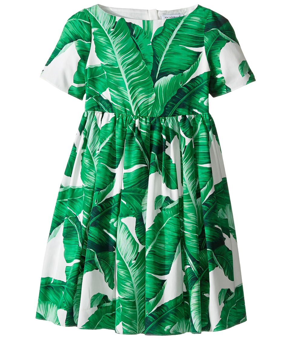 Dolce & Gabbana Kids - Botanical Garden Banana Leaf Dress (Toddler/Little Kids) (White Print) Girl's Dress