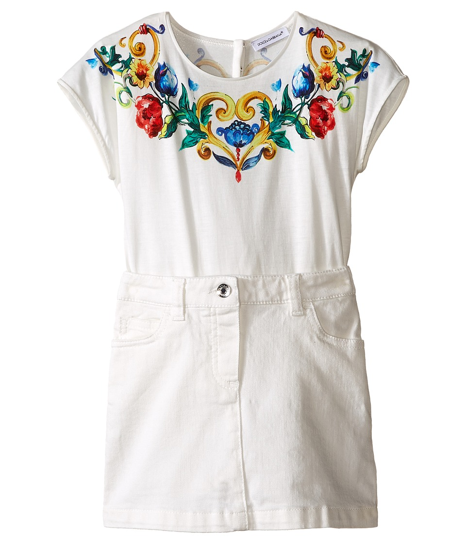 Dolce & Gabbana Kids - Escape Dress (Toddler/Little Kids) (White Print) Girl's Dress